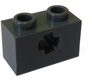 LEGO Dark Stone Gray Technic Brick 1 x 2 with Axle Hole (New Style with 'X' Opening) (32064)