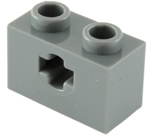 LEGO Dark Stone Gray Technic Brick 1 x 2 with Axle Hole (Old Style with '+' Opening) (31493 / 32064)