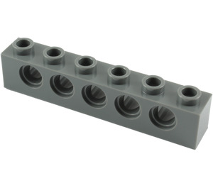 LEGO Dark Stone Gray Technic Brick 1 x 6 with Holes (3894)