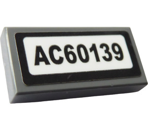 """LEGO Dark Stone Gray Tile 1 x 2 with """"AC60139"""" Sticker with Groove"""