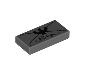LEGO Dark Stone Gray Tile 1 x 2 with Bat, 'X', and Cursive Writing with Groove (11761 / 15061)