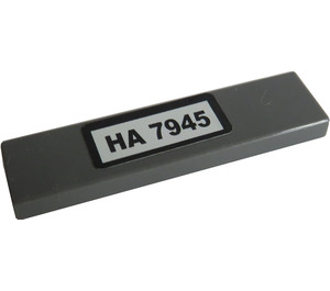 "LEGO Dark Stone Gray Tile 1 x 4 with ""HA 7945"" Sticker"