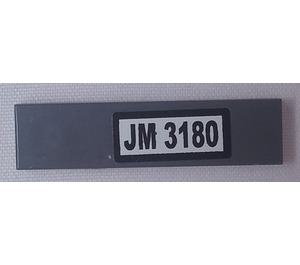 LEGO Dark Stone Gray Tile 1 x 4 with 'JM 3180' Sticker