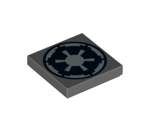 LEGO Dark Stone Gray Tile 2 x 2 with Imperial Insignia Decoration with Groove (74979)