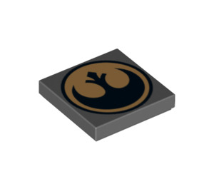 LEGO Dark Stone Gray Tile 2 x 2 with Rebel Alliance Decoration with Groove (74978)