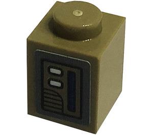 LEGO Dark Tan Brick 1 x 1 with Door opener Sticker