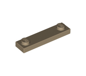 LEGO Dark Tan Plate 1 x 4 with Two Studs without Groove (92593)