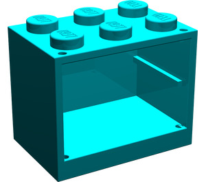 LEGO Dark Turquoise Cupboard 2 x 3 x 2 with Solid Studs (4532)