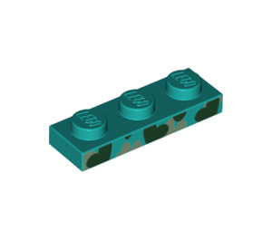 LEGO Dark Turquoise Plate 1 x 3 with Decoration (39397)