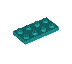 LEGO Dunkel Türkis Platte 2 x 4 (3020)