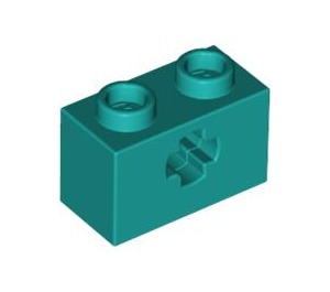LEGO Dark Turquoise Technic Brick 1 x 2 with Axle Hole (Old Style with '+' Opening) (32064)