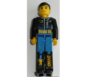 LEGO Diver with Black Wetsuit and 'DIVING' Sticker on Leg Technic Figure