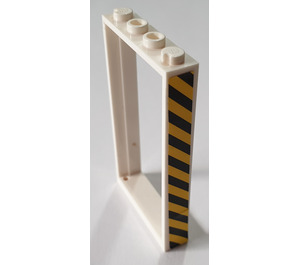 LEGO Door Frame 1 x 4 x 6 with Hazard Stripes (Right) Sticker Single Sided (60596)
