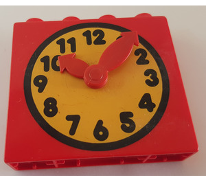 LEGO Duplo Clock Face with Movable Red Hands and Yellow Face