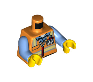 LEGO Engineer Torso with ID Badge and Red Pen Pattern with Medium Blue Arms and Yellow Hands (973 / 76382)