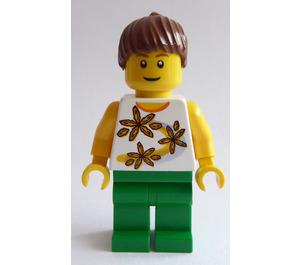 LEGO Female, Ponytail, White Flowered Torso Minifigure