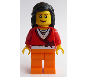 LEGO Female Town Minifigure, Mid-Length Black Hair, Sweater Cropped With Bow, Heart Necklace, Orange Legs