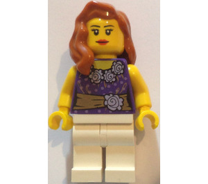 LEGO Female with Dark Purple Dress Bodice with Flowers and Golden Sash Minifigure