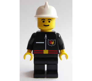 LEGO Fireman with Flame Badge Zipper and White Fire Helmet Minifigure