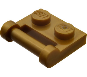 LEGO Flat Dark Gold Plate 1 x 2 with Handle (Closed Ends)