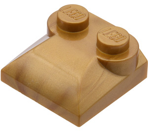 LEGO Flat Dark Gold Slope Curved 2 x 2 with Curved End