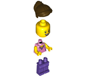 LEGO Girl with Dark Pink Striped Shirt Minifigure