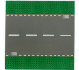 LEGO Green Baseplate 32 x 32 Road 6-Stud Straight with White Dashed Lines (44336)