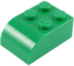 LEGO Green Brick 2 x 3 with Curved Top (6215)