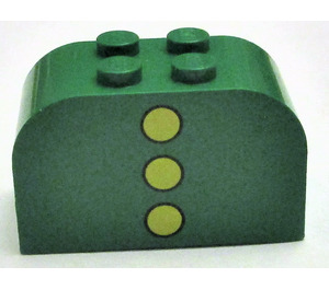LEGO Green Brick 2 x 4 x 2 with Curved Top with 3 yellow dots vertical