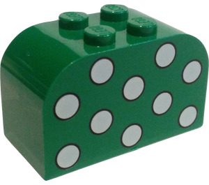 LEGO Green Brick 2 x 4 x 2 with Curved Top with White Dots