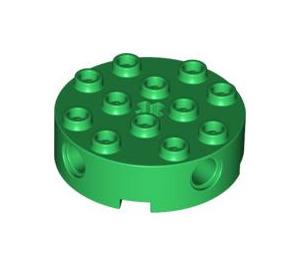 LEGO Green Brick 4 x 4 Round with Holes (6222)