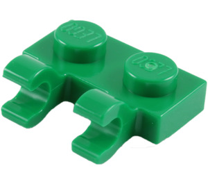 LEGO Green Plate 1 x 2 with Horizontal Clips (Open 'O' Clips) (60470)