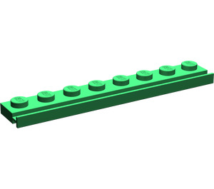 LEGO Green Plate 1 x 8 with Door Rail (4510)
