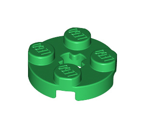 LEGO Green Plate 2 x 2 Round with Axle Hole (with 'X' Axle Hole) (4032)