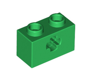 LEGO Green Technic Brick 1 x 2 with Axle Hole (New Style with 'X' Opening) (32064)