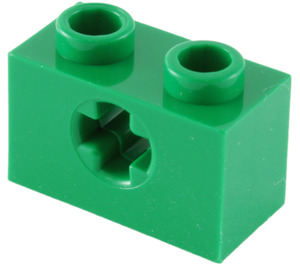 LEGO Green Technic Brick 1 x 2 with Axle Hole (Old Style with '+' Opening) (31493 / 32064)