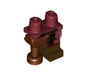 LEGO Hips with Reddish Brown Peg Leg and Dark Red Left Leg, with Worn Clothing and Boot Decoration (23012)