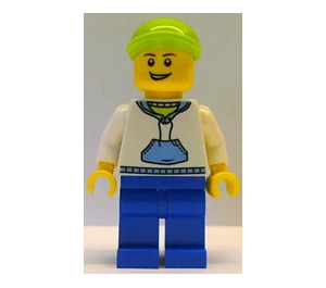 LEGO Hoodie with Blue Pockets and Green Lime Short Cap Minifigure