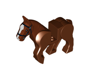 LEGO Horse with Moveable Legs and Black Bridle and White Face Front (10509)