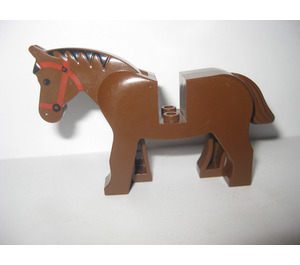LEGO Horse with Red Bridle and Black Mane Decoration