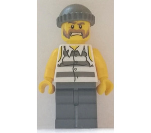 LEGO Jail Prisoner Shirt with Prison Stripes and Torn out Sleeves Minifigure