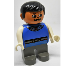 LEGO King with dark gray legs and blue top