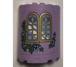 LEGO Lavender Cylinder Half 3 x 6 x 6 with 1 x 2 Cutout  with Tower Sticker