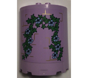 LEGO Lavender Cylinder Half 3 x 6 x 6 with 1 x 2 Cutout  with Tower with vines Sticker