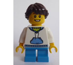 LEGO Lego Creator Child with White Hoodie with Blue Pockets, Dark Azure Short Legs, Freckles, Dark Brown hair ponytail Minifigure