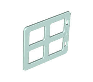 LEGO Light Aqua Duplo Window 4 x 3 with Bars with Same Sized Panes (90265)