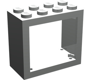 LEGO Light Gray Window 2 x 4 x 3 with Rounded Holes (4132)