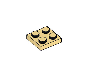 LEGO Light Yellow Plate 2 x 2 (3022)