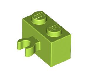 LEGO Lime Brick 1 x 2 with Vertical Clip (Open 'O' clip) (95820)