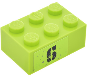 """LEGO Lime Brick 2 x 3 with """"6"""" (Right) Sticker"""
